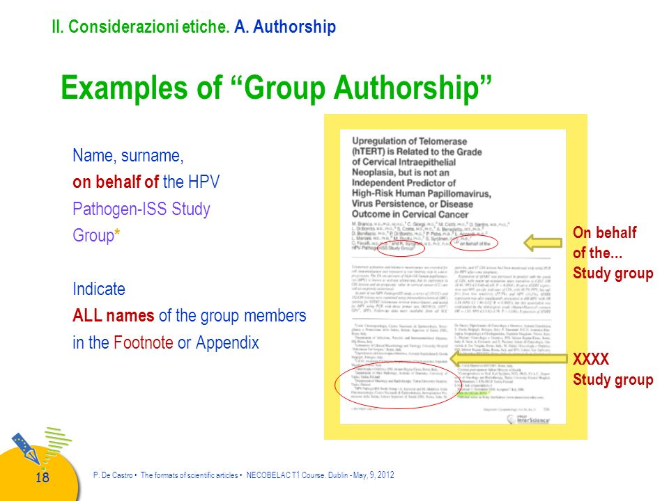 ALL names of the group members in the Footnote or Appendix