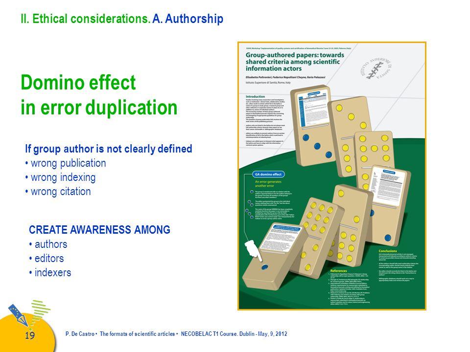 Domino effect in error duplication