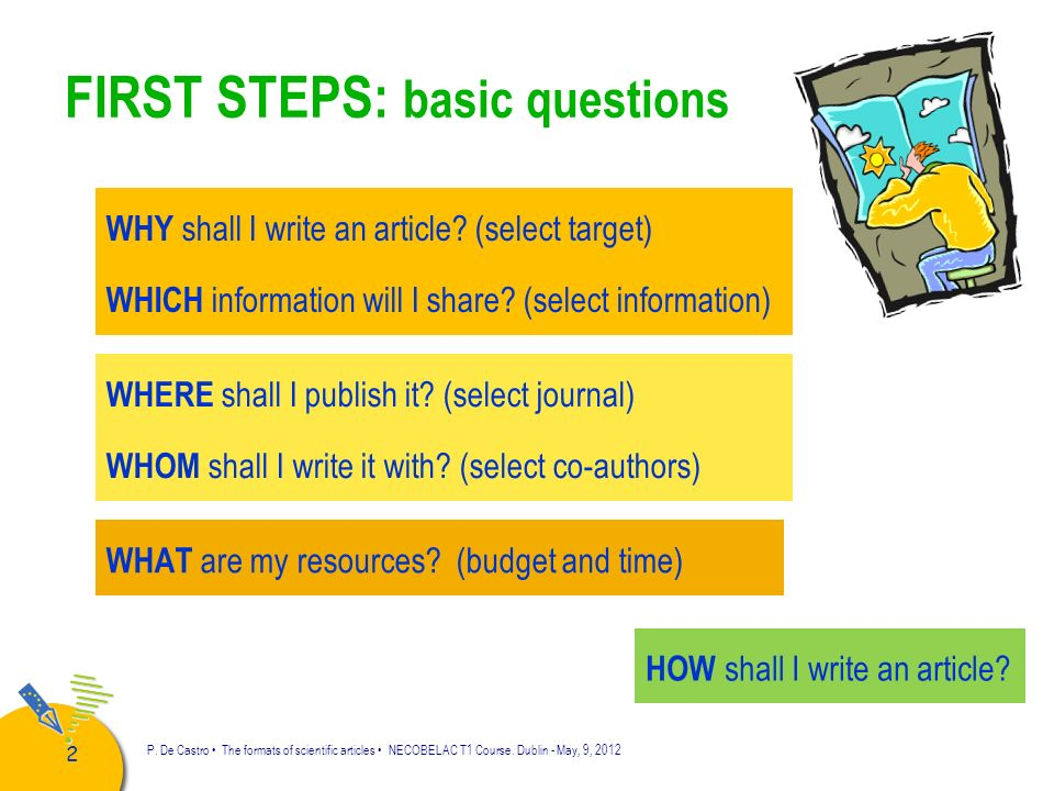 FIRST STEPS: basic questions