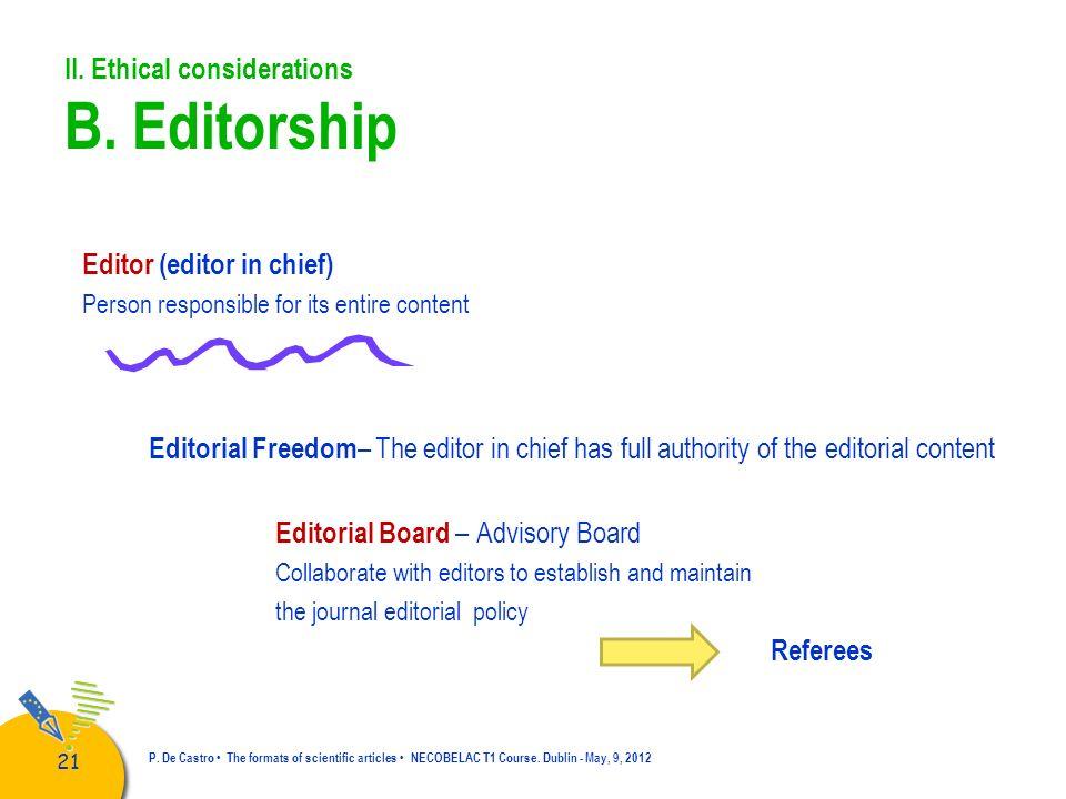 II. Ethical considerations B. Editorship