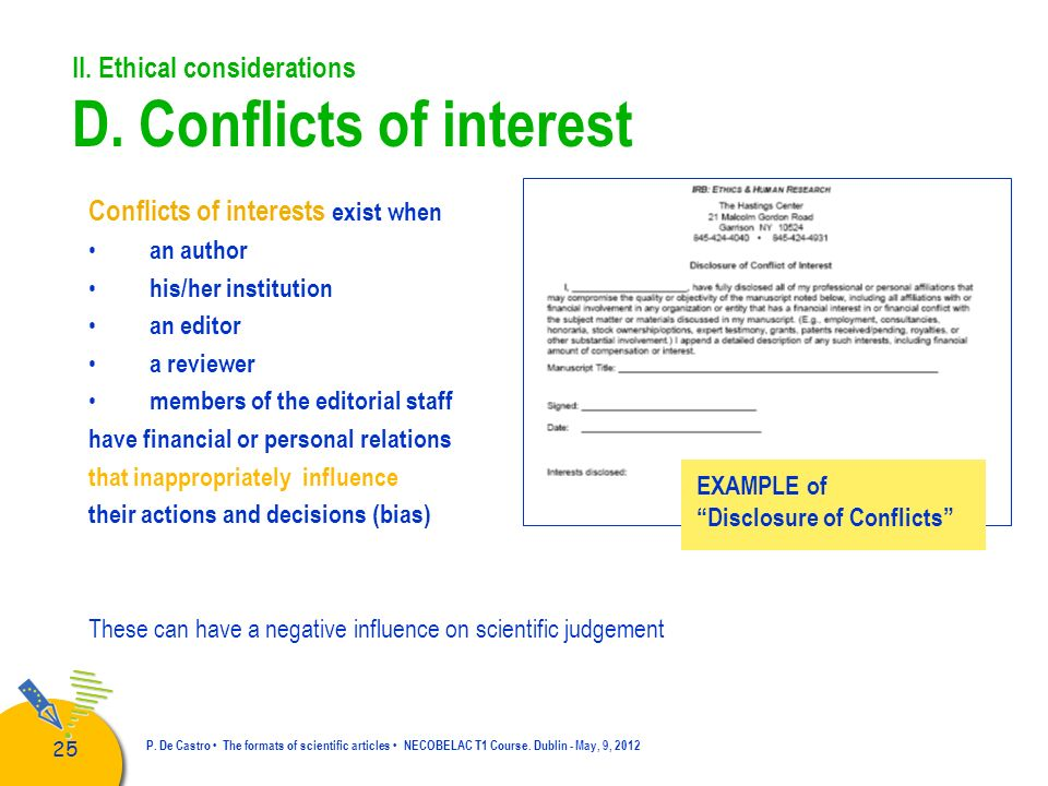 II. Ethical considerations D. Conflicts of interest