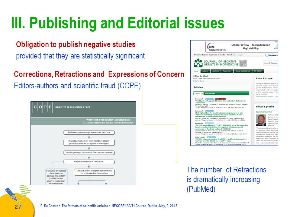 III. Publishing and Editorial issues