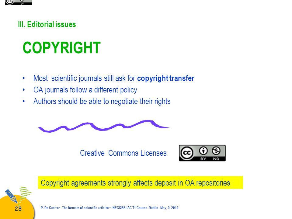 COPYRIGHT III. Editorial issues