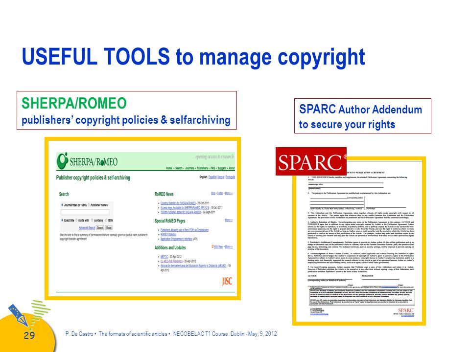 USEFUL TOOLS to manage copyright