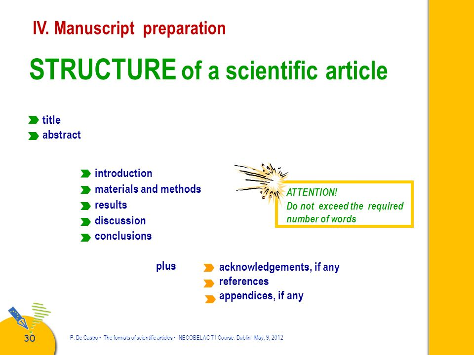STRUCTURE of a scientific article