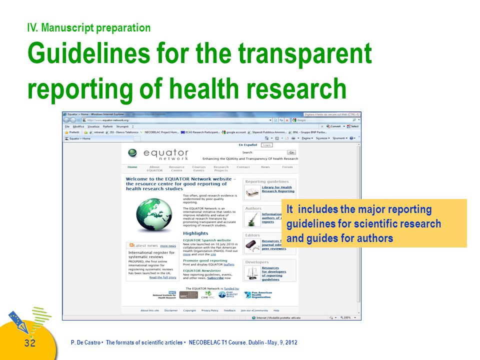 Guidelines for the transparent reporting of health research