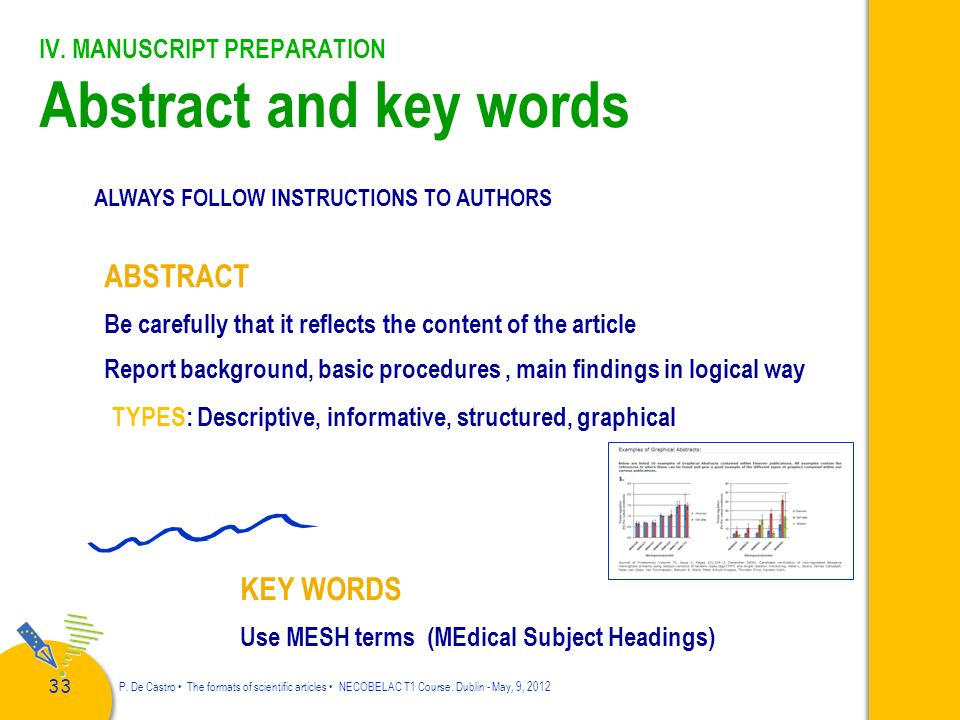 IV. MANUSCRIPT PREPARATION Abstract and key words
