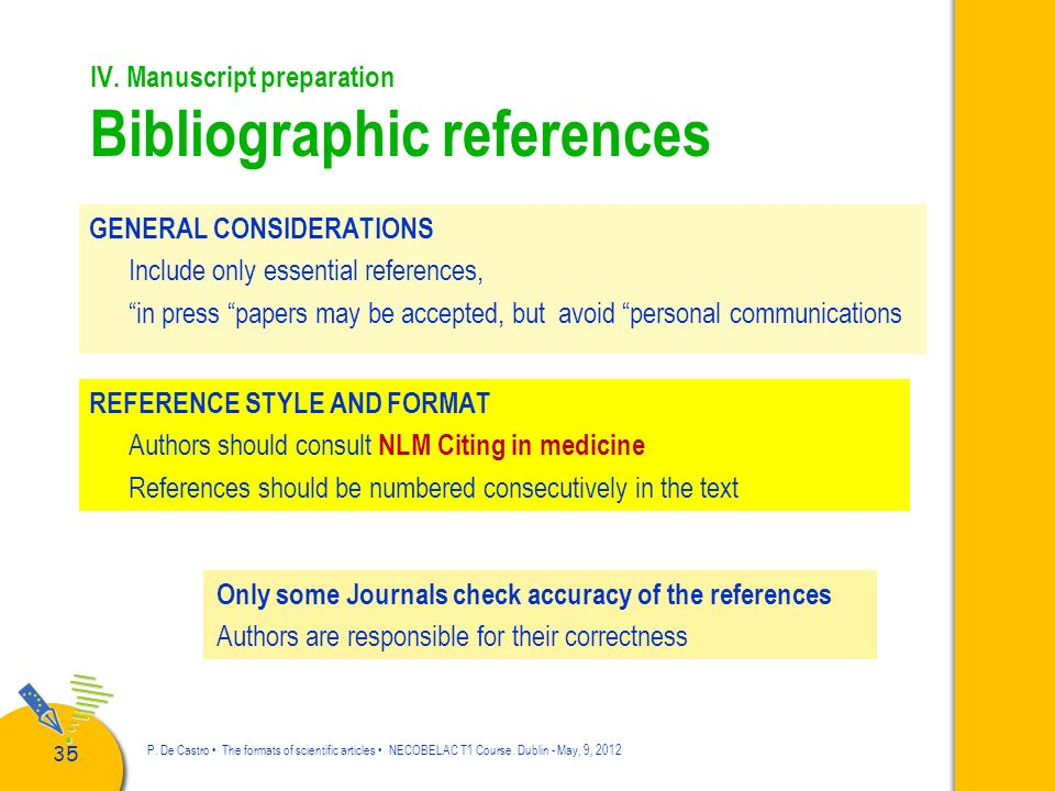 IV. Manuscript preparation Bibliographic references