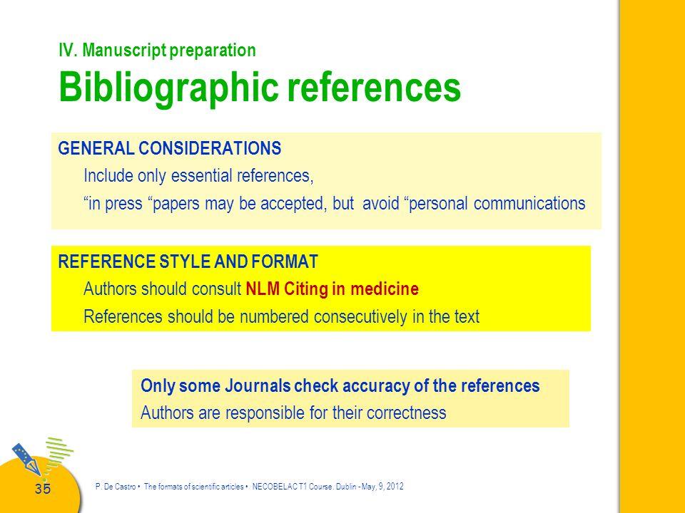 IV. Manuscript preparation Bibliographic references