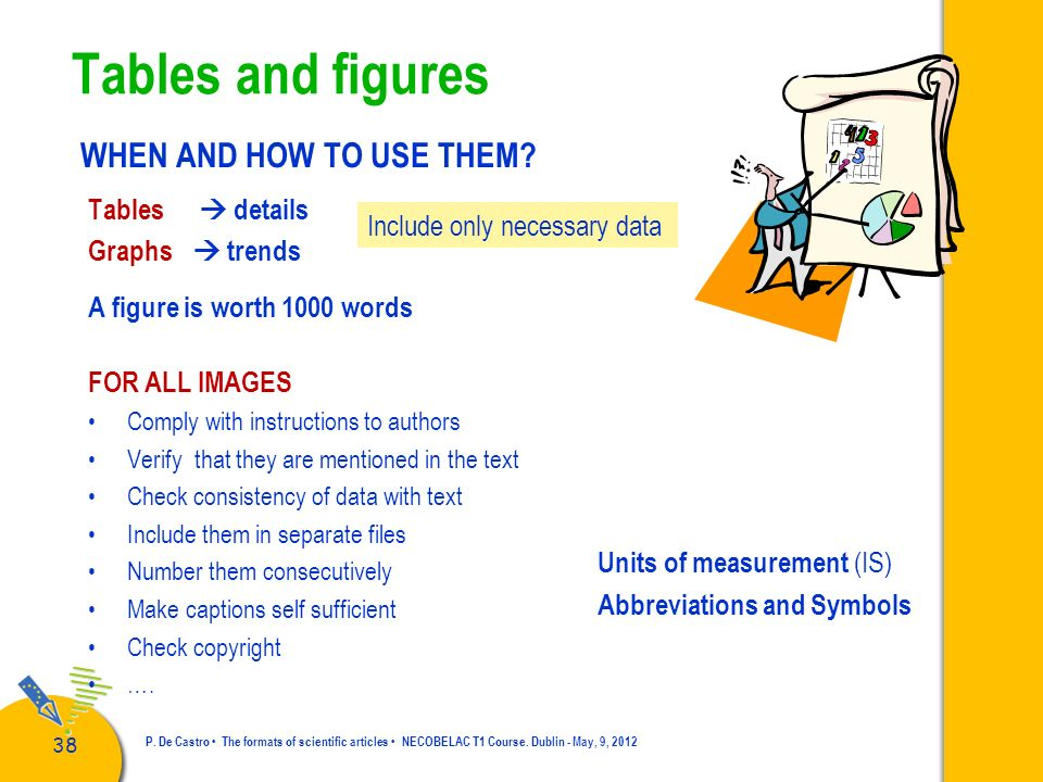 Tables and figures WHEN AND HOW TO USE THEM Tables  details