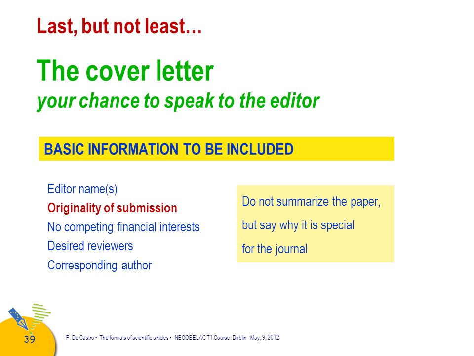 The cover letter your chance to speak to the editor