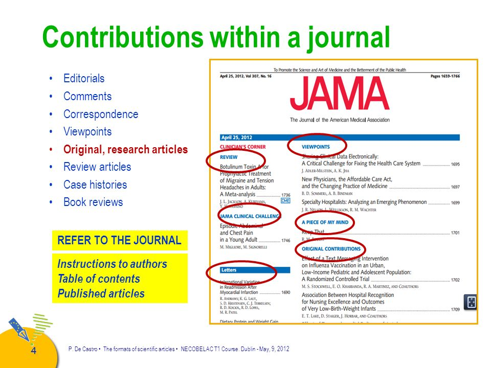 Contributions within a journal