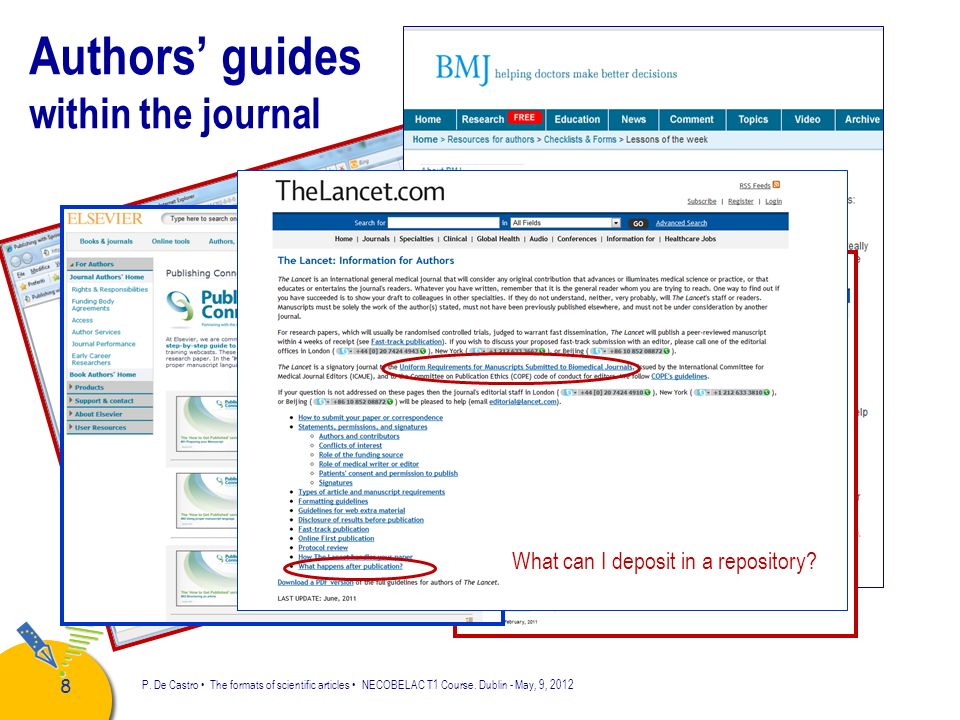 Authors' guides within the journal What can I deposit in a repository