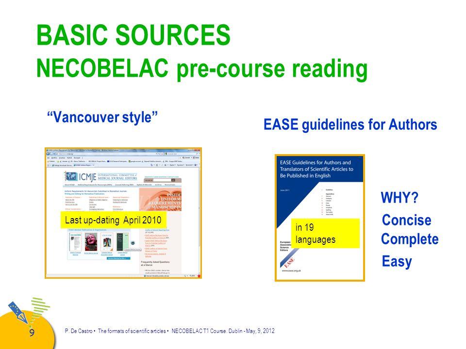 BASIC SOURCES NECOBELAC pre-course reading