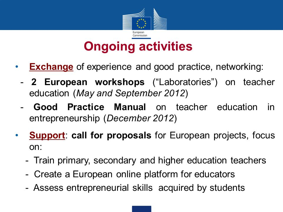 Ongoing activities Exchange of experience and good practice, networking: