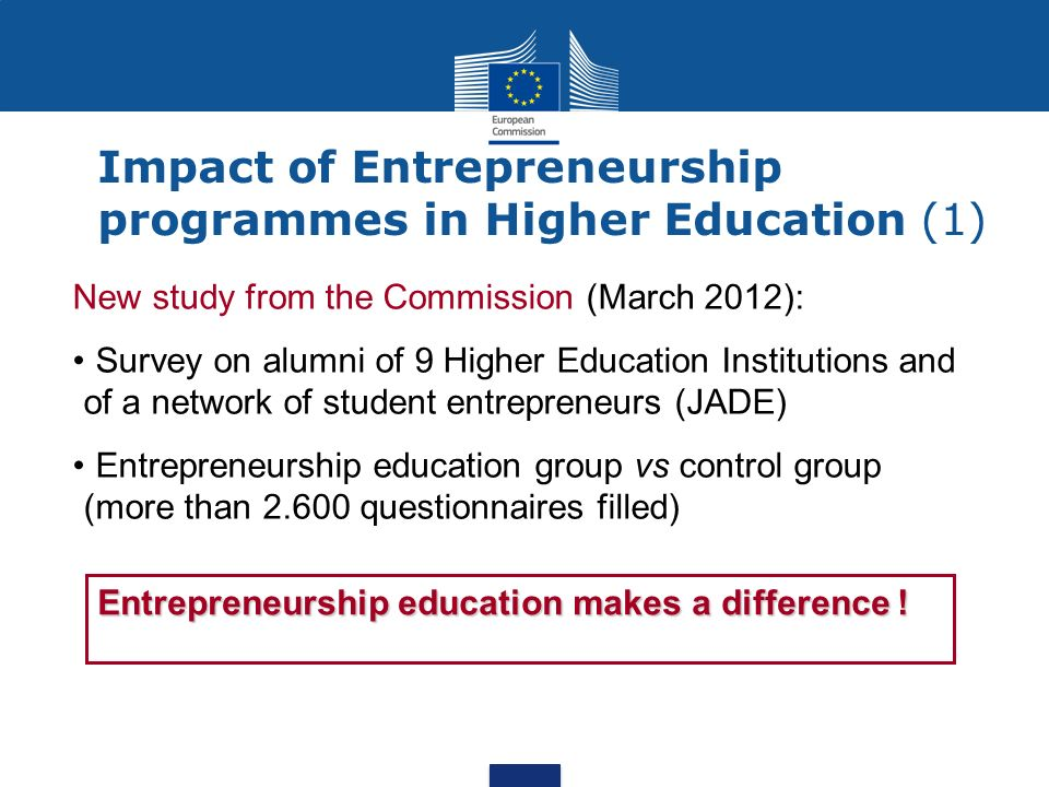 Impact of Entrepreneurship programmes in Higher Education (1)