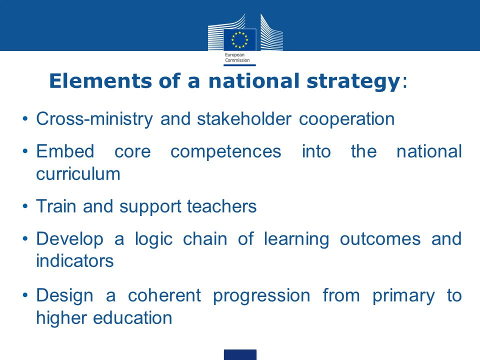 Elements of a national strategy:
