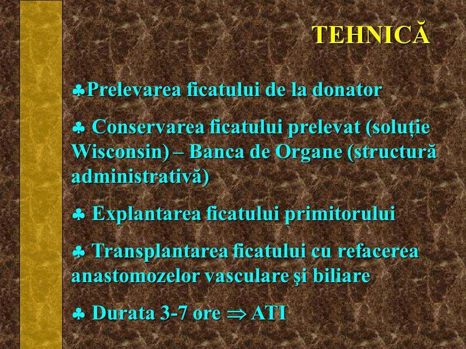 TEHNICĂ Prelevarea ficatului de la donator