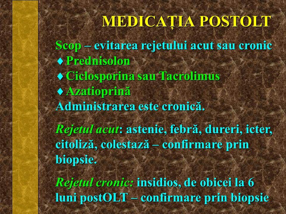 MEDICAŢIA POSTOLT Scop – evitarea rejetului acut sau cronic