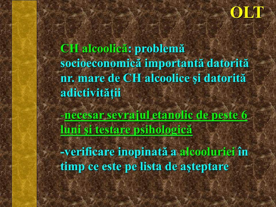 OLT CH alcoolică: problemă socioeconomică importantă datorită nr. mare de CH alcoolice şi datorită adictivităţii.