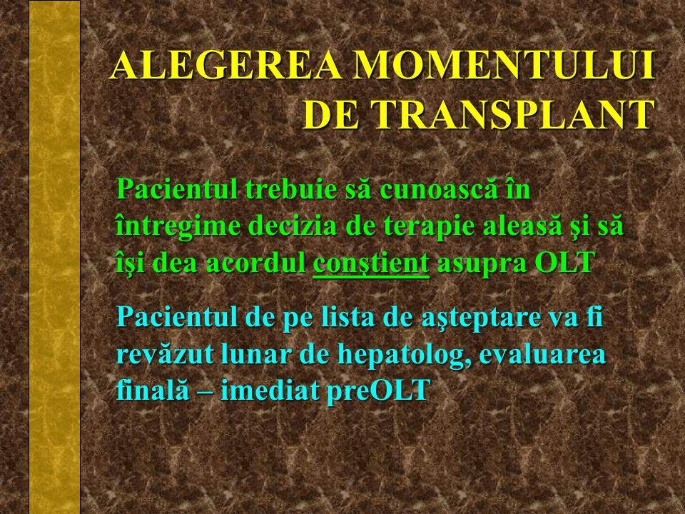 ALEGEREA MOMENTULUI DE TRANSPLANT
