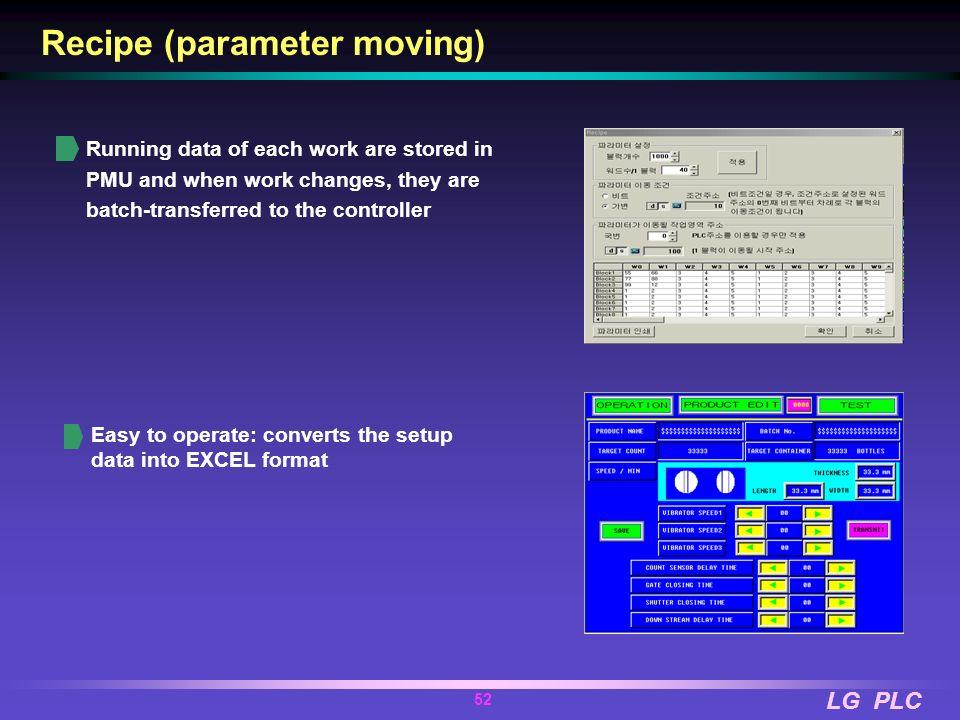 Recipe (parameter moving)