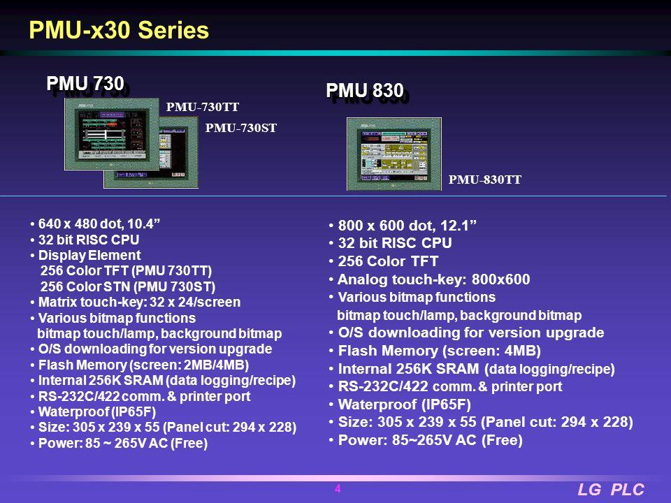 PMU-x30 Series PMU 730 PMU 830 800 x 600 dot, 12.1 32 bit RISC CPU