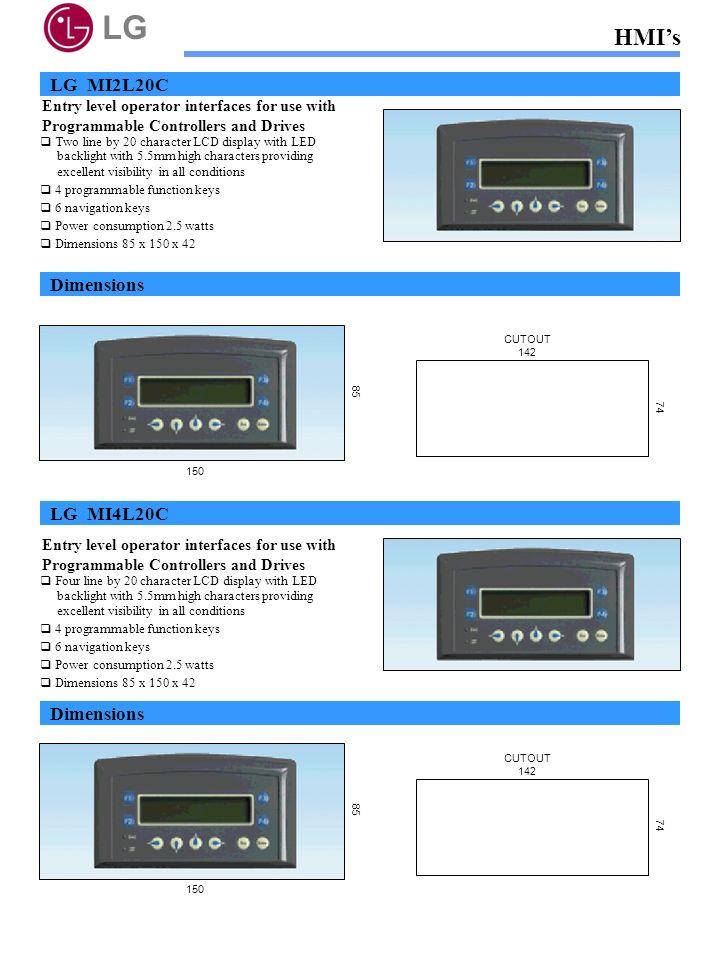 LG HMI's LG MI2L20C Dimensions LG MI4L20C Dimensions