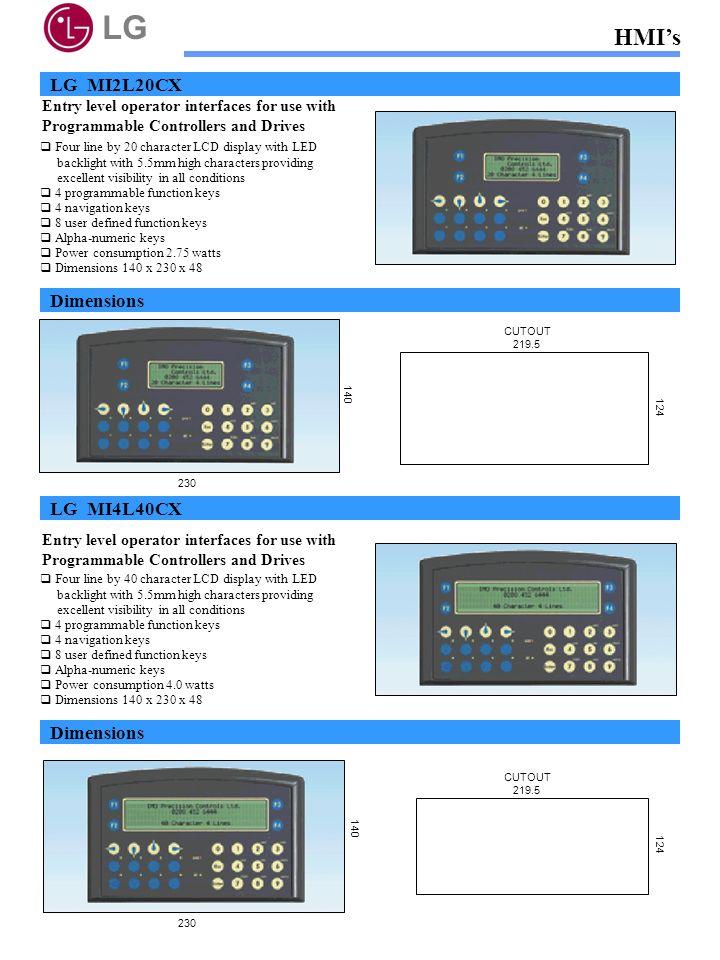 LG HMI's LG MI2L20CX Dimensions LG MI4L40CX Dimensions