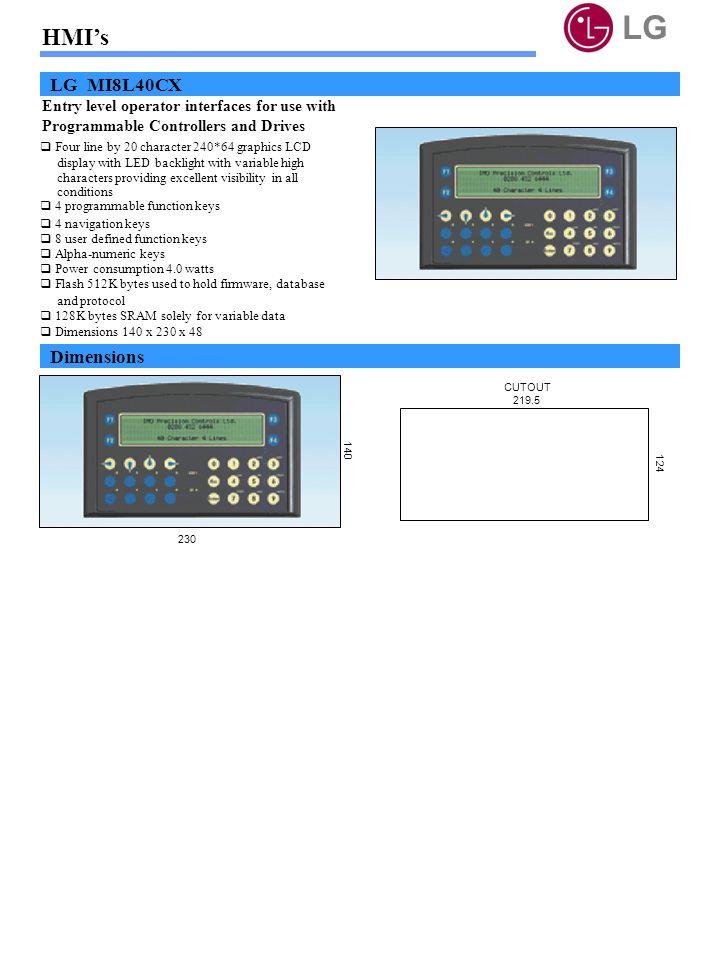 LG HMI's LG MI8L40CX Dimensions
