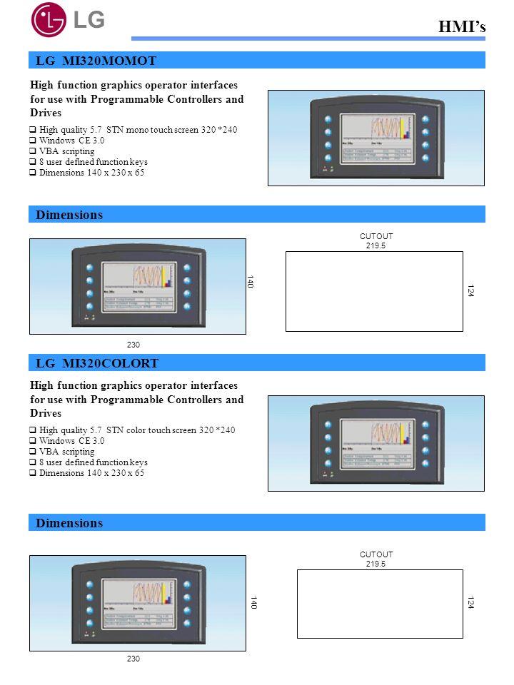 LG HMI's LG MI320MOMOT Dimensions LG MI320COLORT Dimensions