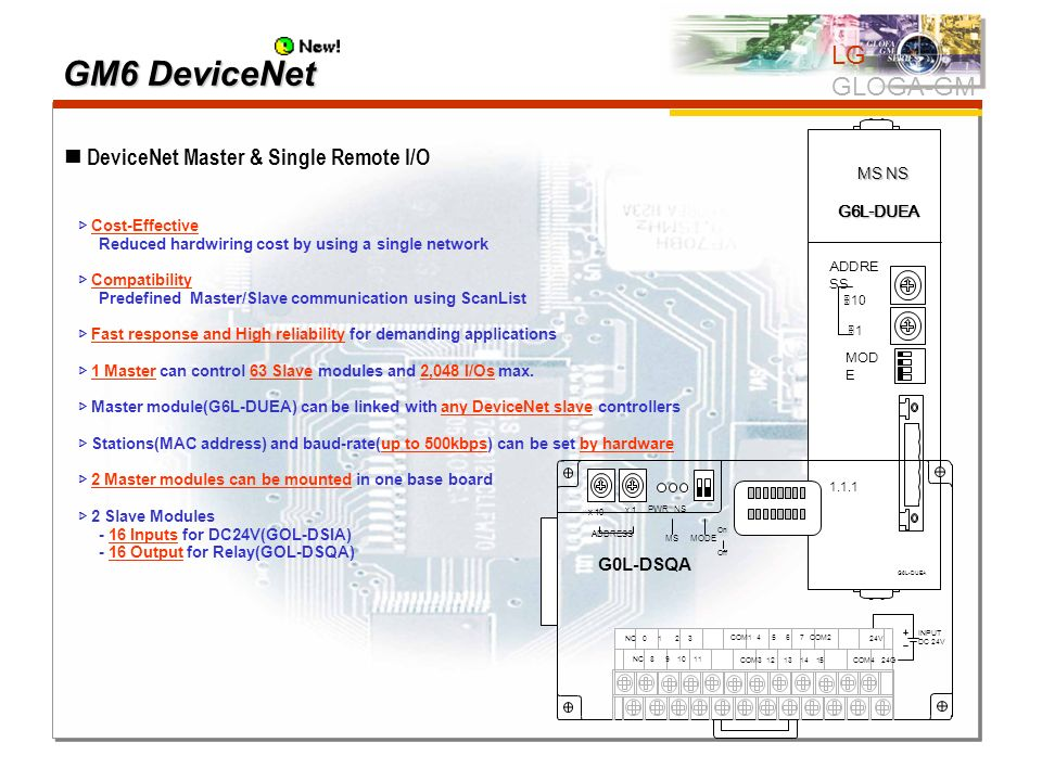 GM6 DeviceNet LG GLOGA-GM  DeviceNet Master & Single Remote I/O