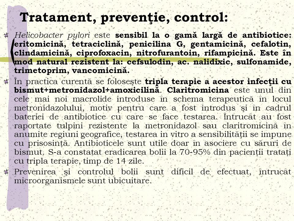 Tratament, prevenţie, control: