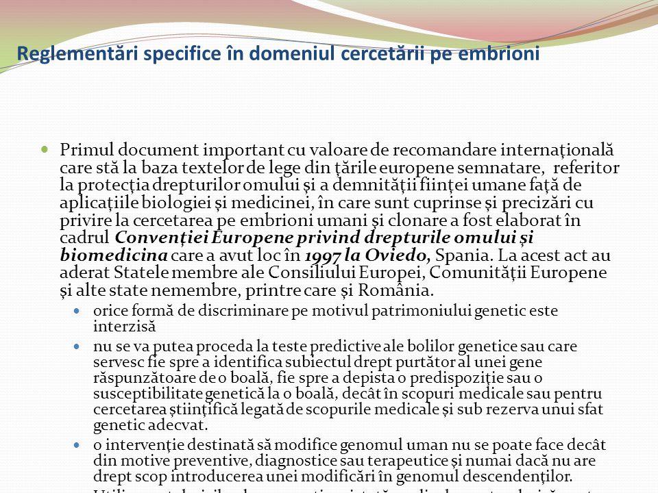 Reglementări specifice în domeniul cercetării pe embrioni