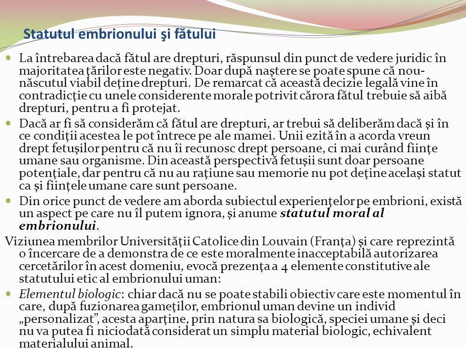Statutul embrionului şi fătului