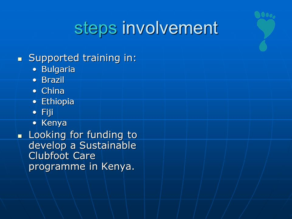 steps involvement Supported training in: