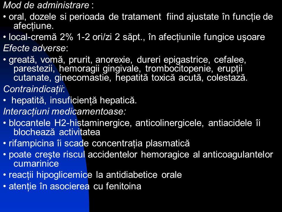 Mod de administrare : • oral, dozele si perioada de tratament fiind ajustate în funcţie de afecţiune.