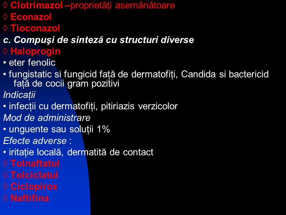 ◊ Clotrimazol –proprietăţi asemănătoare