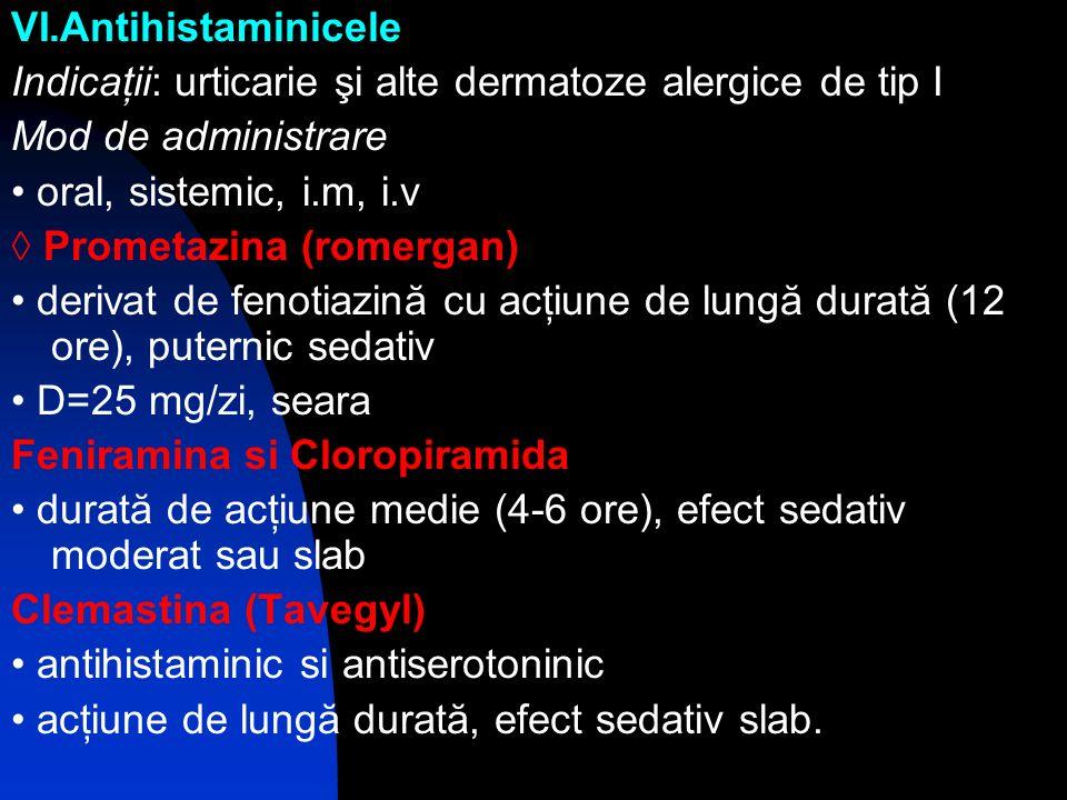 VI.Antihistaminicele Indicaţii: urticarie şi alte dermatoze alergice de tip I. Mod de administrare.