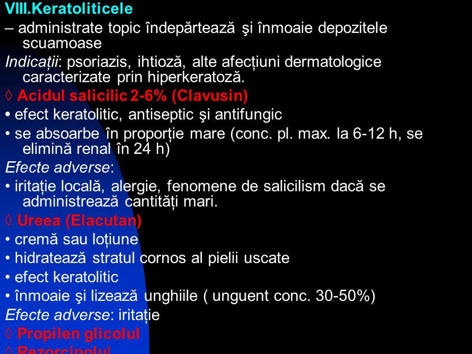 VIII.Keratoliticele – administrate topic îndepărtează şi înmoaie depozitele scuamoase.