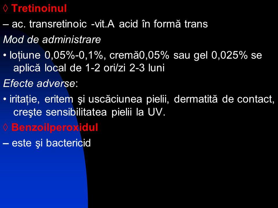 ◊ Tretinoinul – ac. transretinoic -vit.A acid în formă trans. Mod de administrare.