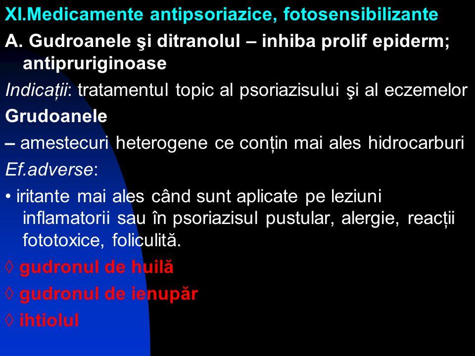 XI.Medicamente antipsoriazice, fotosensibilizante
