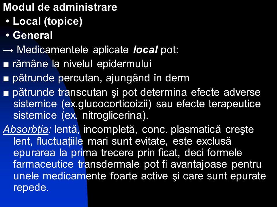 Modul de administrare • Local (topice) • General. → Medicamentele aplicate local pot: ■ rămâne la nivelul epidermului.
