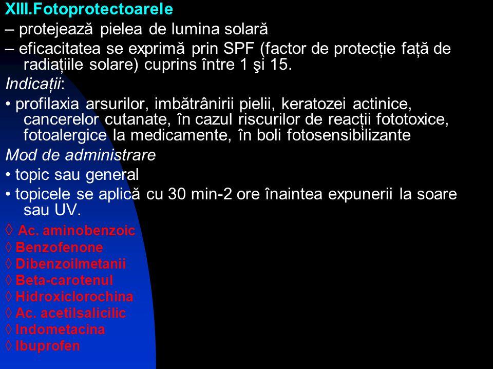 XIII.Fotoprotectoarele – protejează pielea de lumina solară