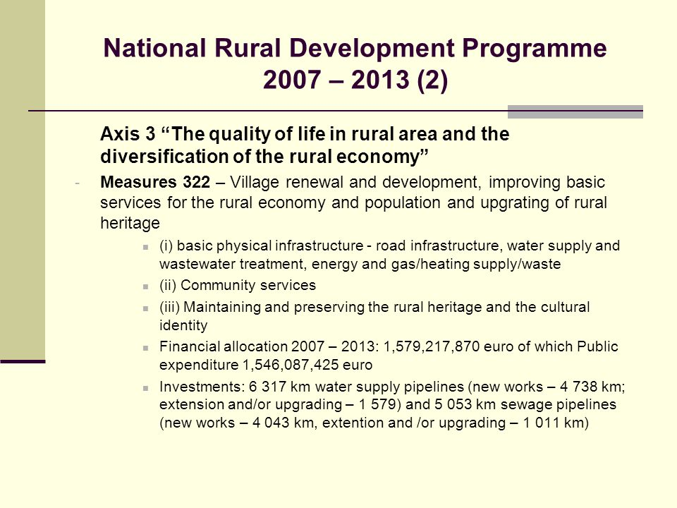 National Rural Development Programme 2007 – 2013 (2)