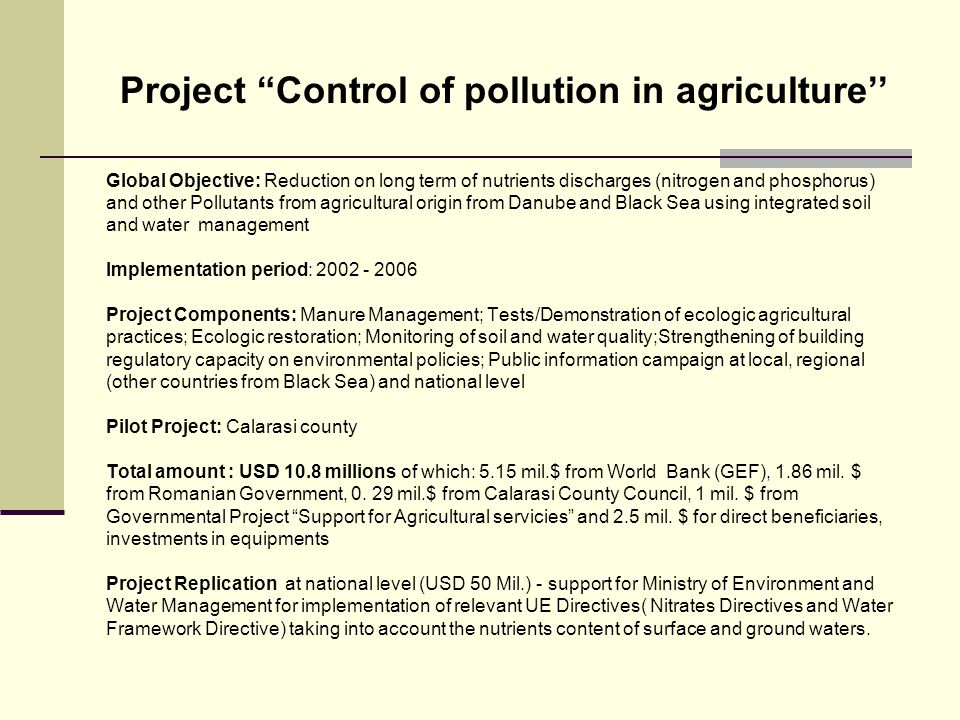 Project Control of pollution in agriculture''
