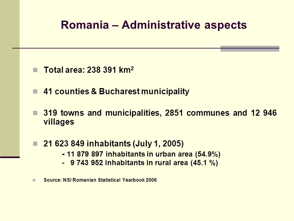 Romania – Administrative aspects