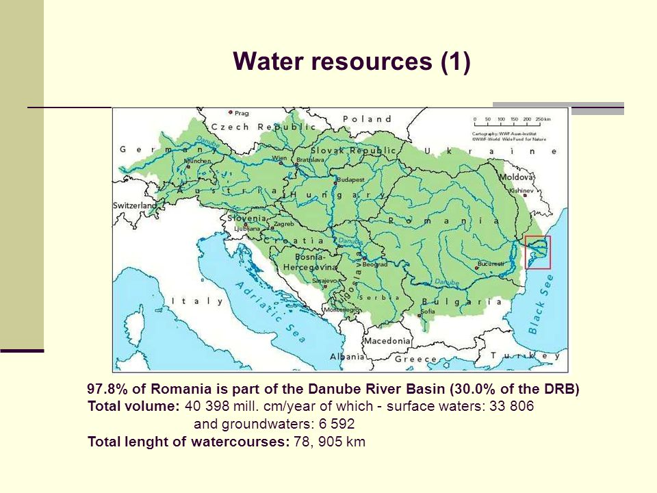 Water resources (1) 97.8% of Romania is part of the Danube River Basin (30.0% of the DRB)
