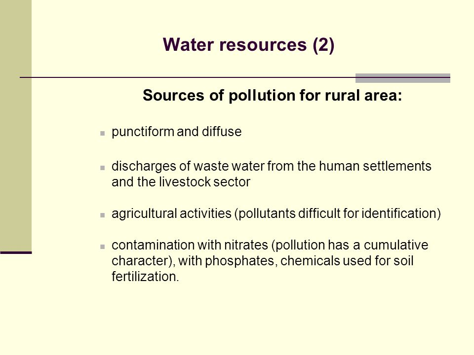 Sources of pollution for rural area: