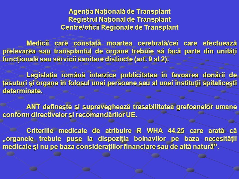 Agenţia Naţională de Transplant Registrul Naţional de Transplant
